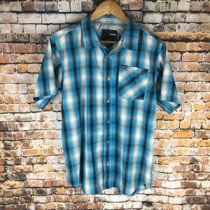 Hurley Button Down Short Sleeve Shirt Men (XL)